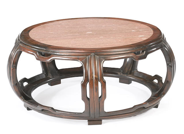 A circular hardwood low table with marble top Late Qing/Republic period