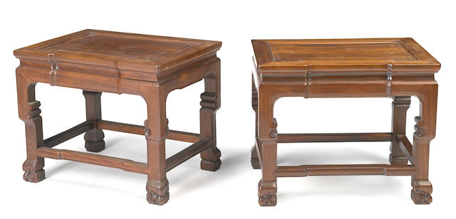 A pair of hardwood low tables with beaded edges