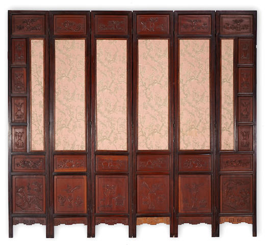 A six-panel hardwood screen