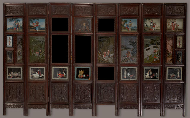An eight-panel wood floor screen inset with reverse-painted mirror glass panels Late Qing/Republic period