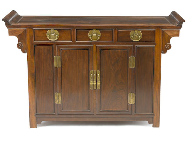 A hardwood two-door coffer cabinet Republic period