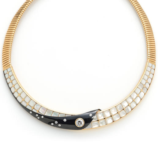 An 18k gold, mother-of-pearl, enamel, and diamond choker