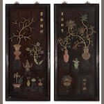 A pair of lacquered wood panels with applied hardstone decoration 20th century
