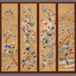 A set of four kesi-woven silk panels  Late Qing dynasty