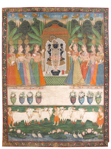 Worship of Dvarkadhishji by the gopis  Kishangarh or Bundi, mid 19th century