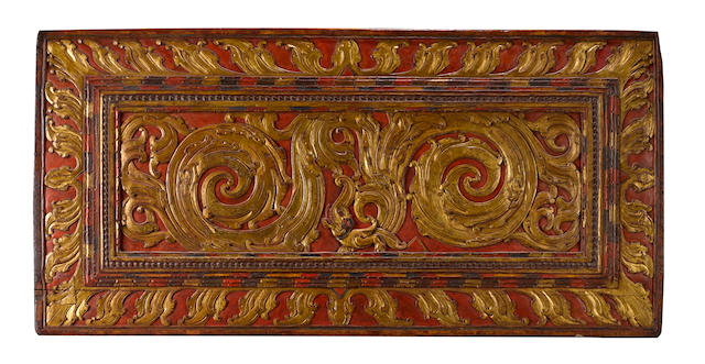 A gilt-wood and lacquer manuscript cover Tibet, circa 13th Century