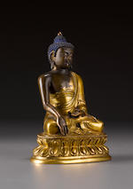 A gilt copper alloy Buddha Shakyamuni Qing, 18th century