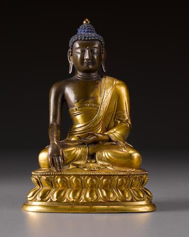 A gilt copper alloy Buddha Shakyamuni Qing, 18th century