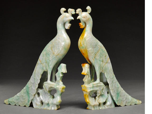 A pair of jadeite phoenix