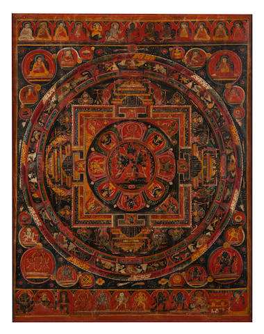 A Mandala of Chakrasamvara Tibet, 15th/16th century