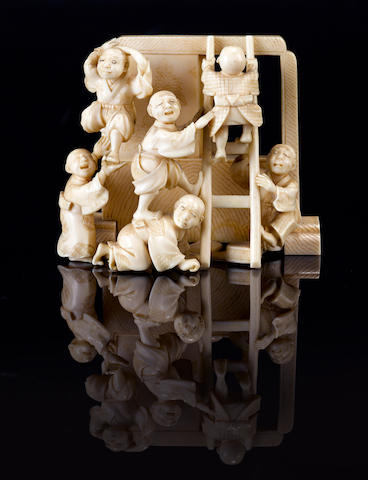 A small ivory okimono By Akitsugu, Meiji period (19th century)