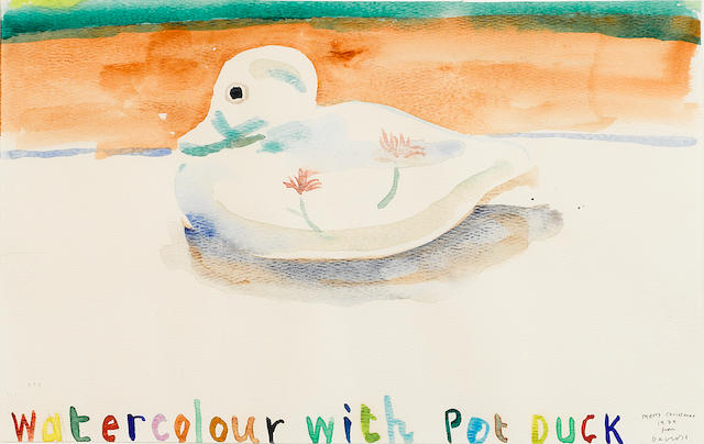David Hockney (born 1937) Watercolour with Pet Duck, 1979 8 7/8 x 14in (22.5 x 35.5cm)
