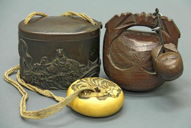 A patinated bronze tonkotsu<BR />19th century