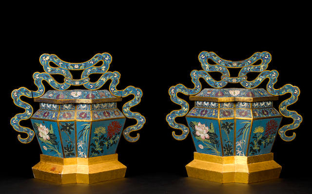 A pair of massive cloisonné enameled metal covered urns 19th century