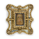 A Spanish Colonial giltwood and mirror mounted retablo mirror <BR /> first half 19th century