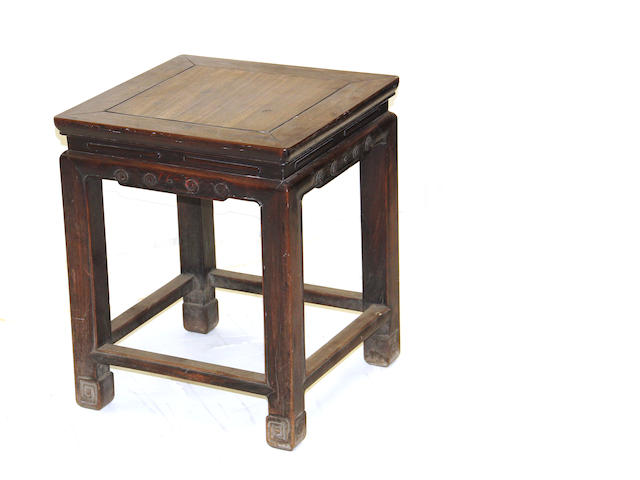 A hardwood square stool Late Qing/Repubic period