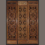 A group of three massive pieced hardwood door panels  Qing dynasty