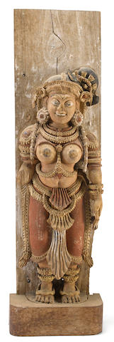 A polychrome painted wood figure of a devadasi South India, 18th/19th century