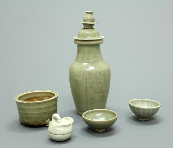 A group of four celadon glazed ceramics Song and Yuan period