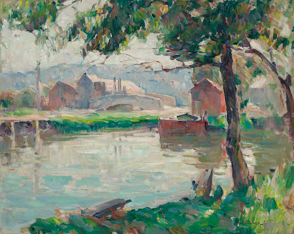 John Fulton Folinsbee (American, 1892-1972) Mill by the River, Summer 16 x 20in