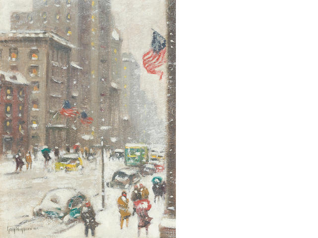Guy Carleton Wiggins (American, 1883-1962) The Blizzard, Fifth Avenue 16 x 12in