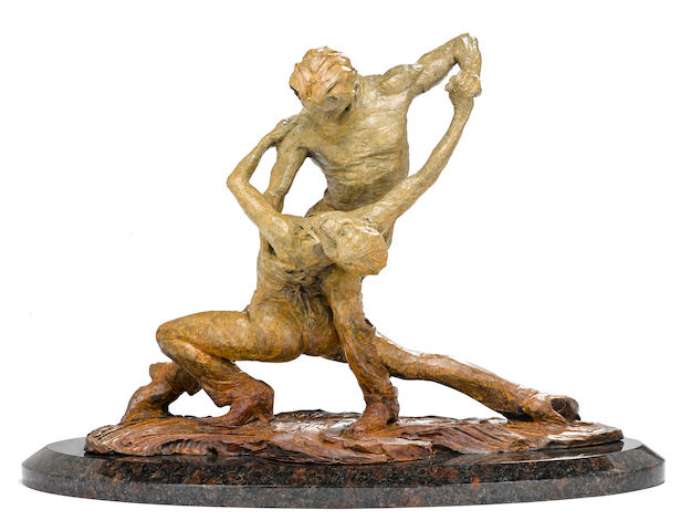 An American contemporary patinated bronze figural group: Tango Study III <BR />Richard MacDonald (American, born 1946)<BR />circa 2002<BR />edition 15/75