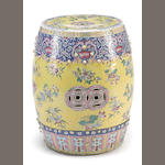 A yellow ground porcelain drum-form garden seat with famille rose enamel decoration Republic period