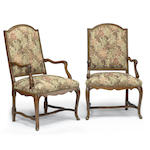A pair of Italian Rococo walnut armchairs <BR /> third quarter 18th century