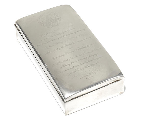 Sterling silver cigarette case presented to Berle on the occasion of the JFK inauguration. Poole Silver Co., Taunton, MA.