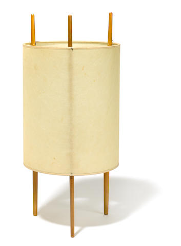 An Isamu Noguchi for Knoll cherry and fiberglass reinforced polymer table                      lamp circa 1950