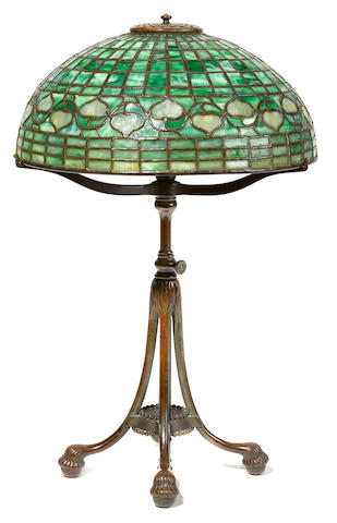 A Tiffany Studios patinated bronze and Favrile glass Acorn lamp 1899-1920