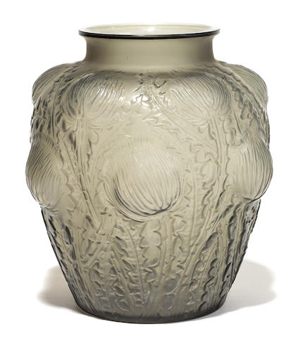 A René Lalique molded grey glass Domremy vase (Marcilhac 979), model introduced 1926