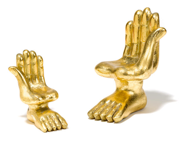 A group of diminutive giltwood models of hand chairs by Pedro Friedeberg