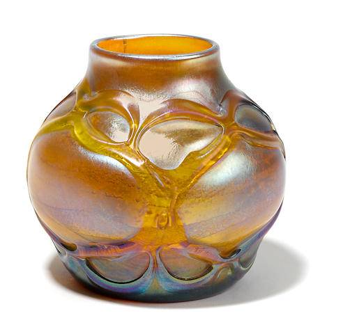 A Tiffany Studios Favrile glass bowl with applied decoration