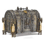 A French Gothic Revival silvered and parcel gilt bronze table casket <BR />Alphonse Gustave Giroux, French (1810-1886)<BR />third quarter 19th century