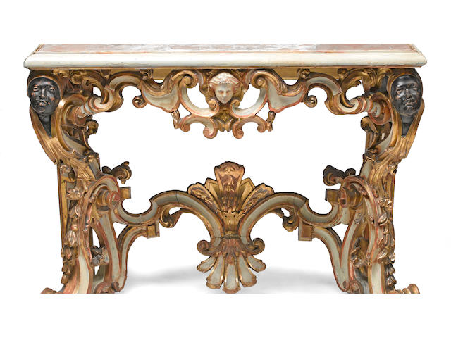 An Italian Rococo style parcel gilt and paint decorated console table 19th century