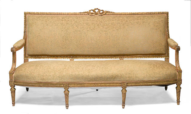 A Louis XVI style giltwood canape <BR /> 19th century