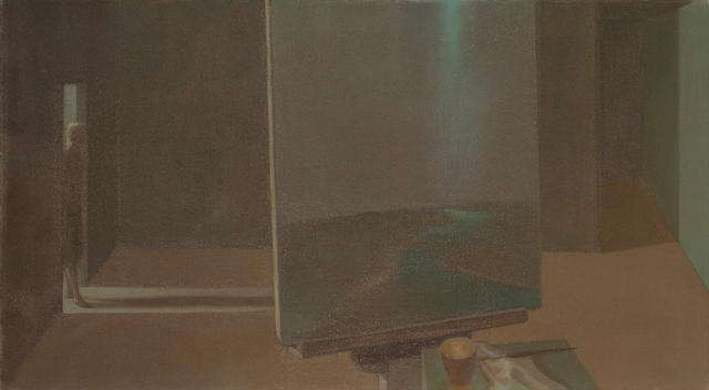 Helen Lundeberg (1908-1999) Studio with Landscape, 1957 20 x 36 1/4in (50.8 x 92.1cm) unframed