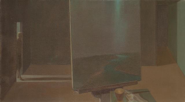 Helen Lundeberg (1908-1999) Studio with Landscape, 1957 20 x 36 1/4in (50.8 x 92.1cm) unframed