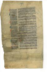 LEAVES—BIBLE. Latin manuscript on vellum, from the Book of Isaiah. [Paris? mid-13th century.]