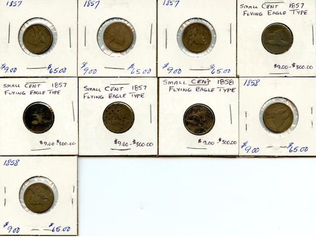 Flying Eagle Cents, 1857 (6), 1858 (3)