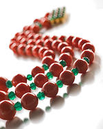 A coral and emerald bead multistrand necklace and earclips, Sabbadini
