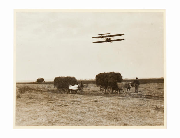 WORLDS COLLIDE AT PAU, 1909. Black and white photograph,  7½ x 10 inches, mounted.