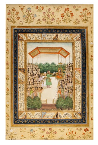 An Illustration from the Iskandanama of Nezamni: Alexander in disguise at the court of Queen Nushaba Lucknow, late 18th Century
