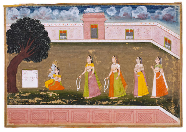 Krishna and Radha worship at a shrine Bilaspur, c. 1760-70