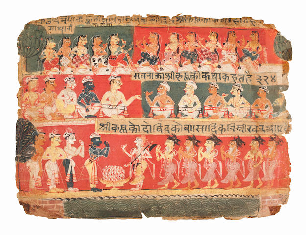 Illustration from the 'Palam' Bhagavata Purana Series: Krishna, Balarama and their Companions in the Forest North India, Delhi-agra region, circa 1520-30