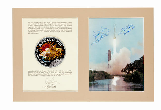 LOVELL'S FLOWN APOLLO 13 EMBLEM. INTENDED TO BE TAKEN TO THE LUNAR SURFACE.  Flown cloth crew mission emblem carried on the flight by Commander James Lovell.