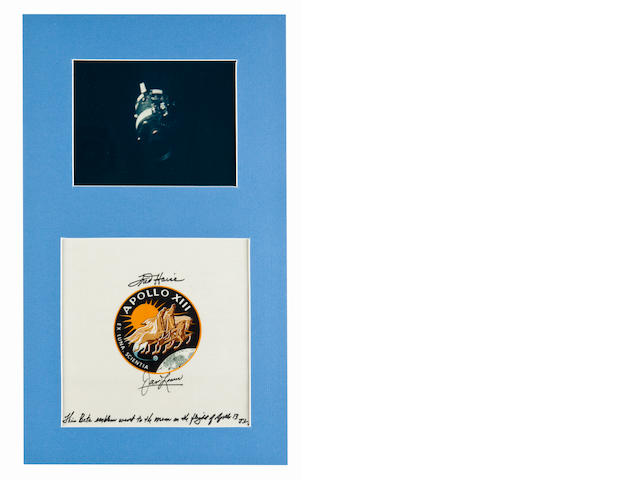 LOVELL'S FLOWN APOLLO 13 BETA EMBLEM—SIGNED. Flown Apollo 13 Beta emblem,