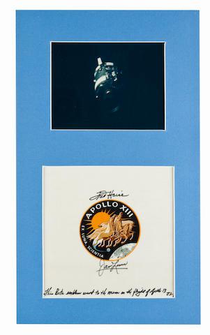 LOVELL'S FLOWN APOLLO 13 BETA EMBLEM—SIGNED. Flown Apollo 13 Beta emblem,