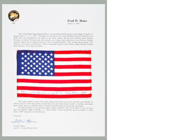 STARS AND STRIPES INTENDED FOR LUNAR SURFACE. Flown United States flag, made from silk, 4 by 6 inches,